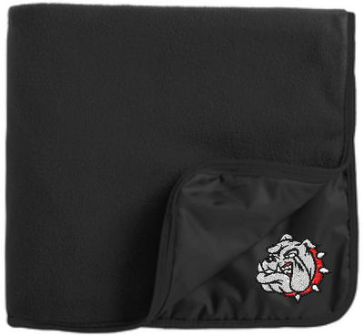 Bulldog Fleece & Poly Travel Blanket