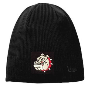 Bulldog Embroidered Fleece Lined Knit Beanie