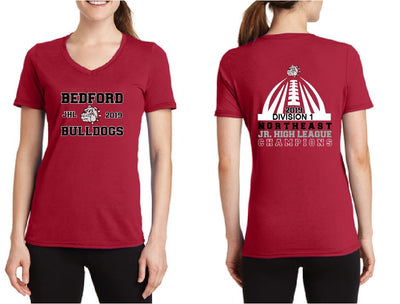 Jr High Football Championship Ladies V Neck Tee
