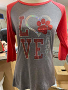 LOVE DAWGS Spangle 3/4 Sleeve Tee