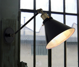 Black Cone Shade Wall Light Sconce (short arm)