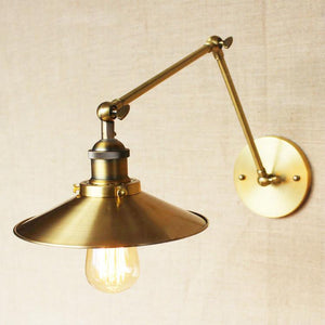 Brass Cone Shade Wall Light With Long Arm