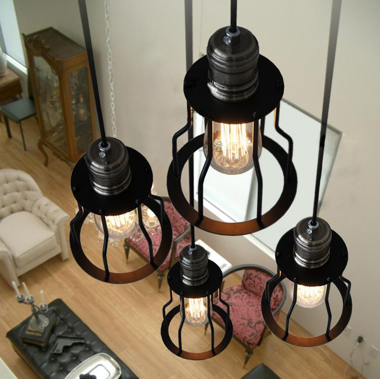 6 Head Industrial Wire Cage Chandelier / Pendant Lights