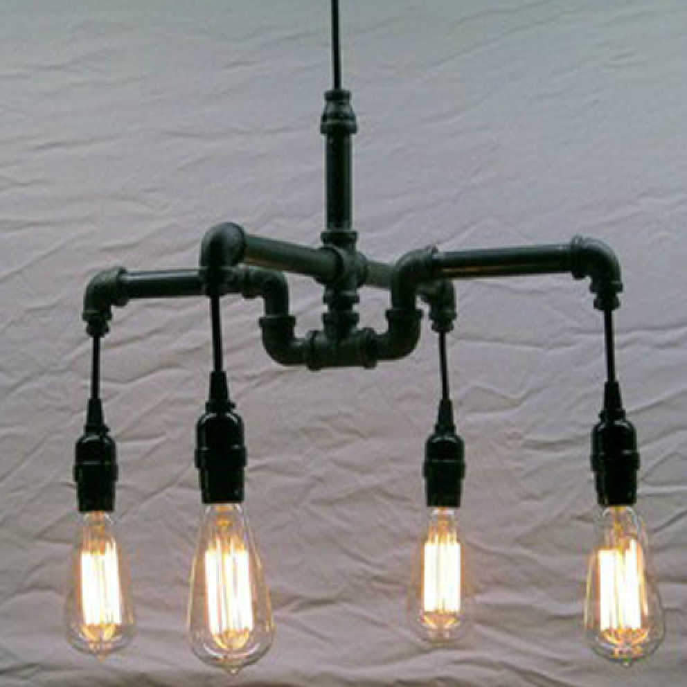 4 head Crossed Industrial Water Pipe Chandelier