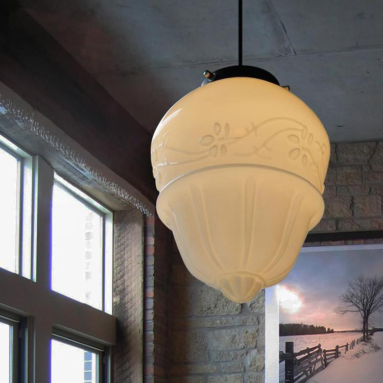 Art deco milk glass pendant light