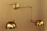 Brass Double Head Shade Industrial Wall Light