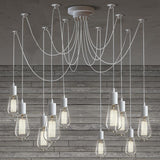 10 Light Cable Chandelier in white