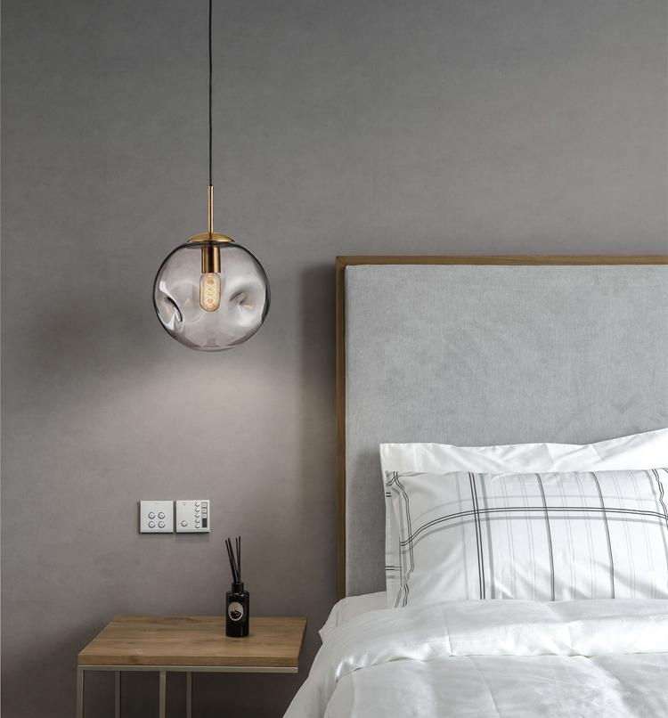 Aminta Dimpled Glass Shade Brass Pendant Light