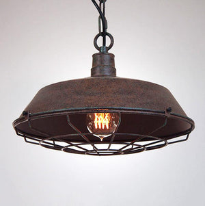 Vintage Industrial Pendant Light With Cage Covering - Rustic