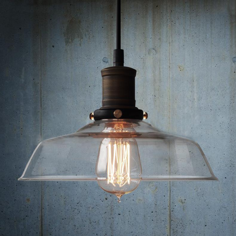 Retro Industrial Pendant Light With Glass Shade