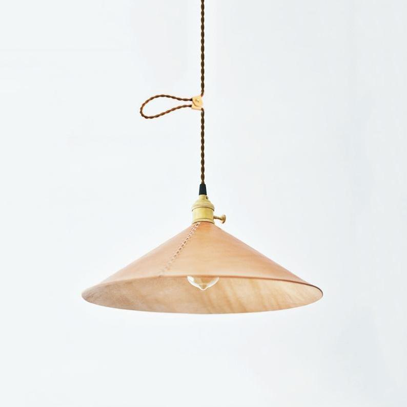 Baxter leather cone pendant light