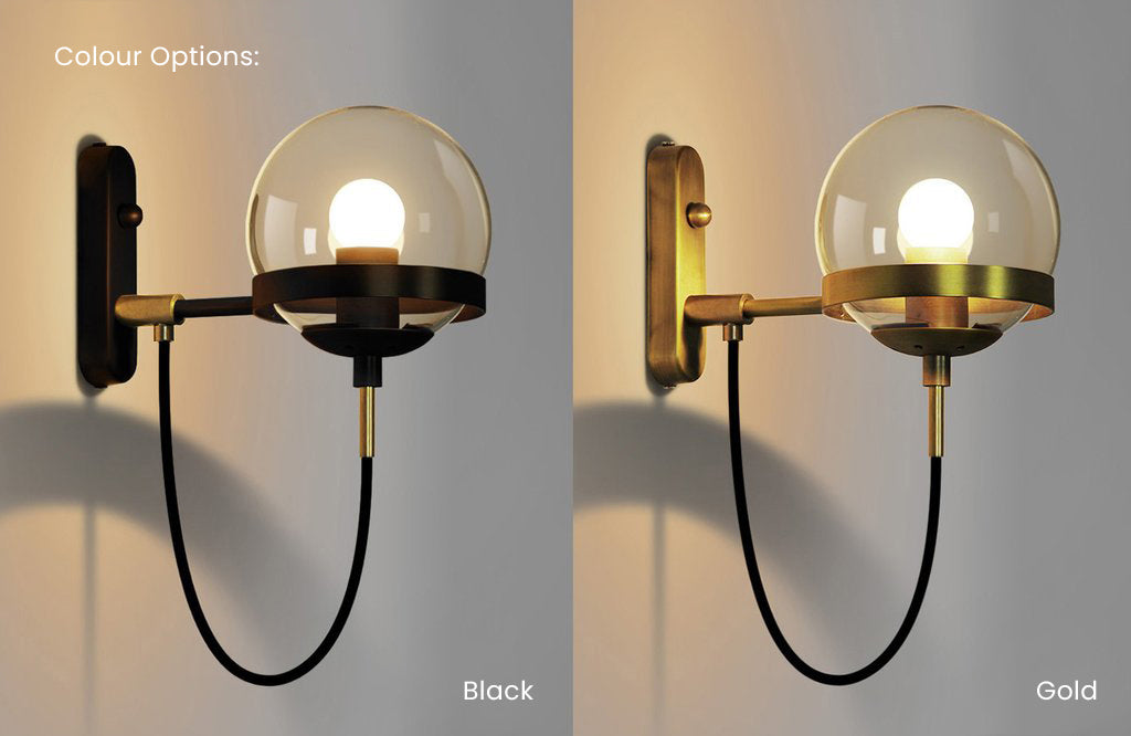 Dexter glass orb wall light