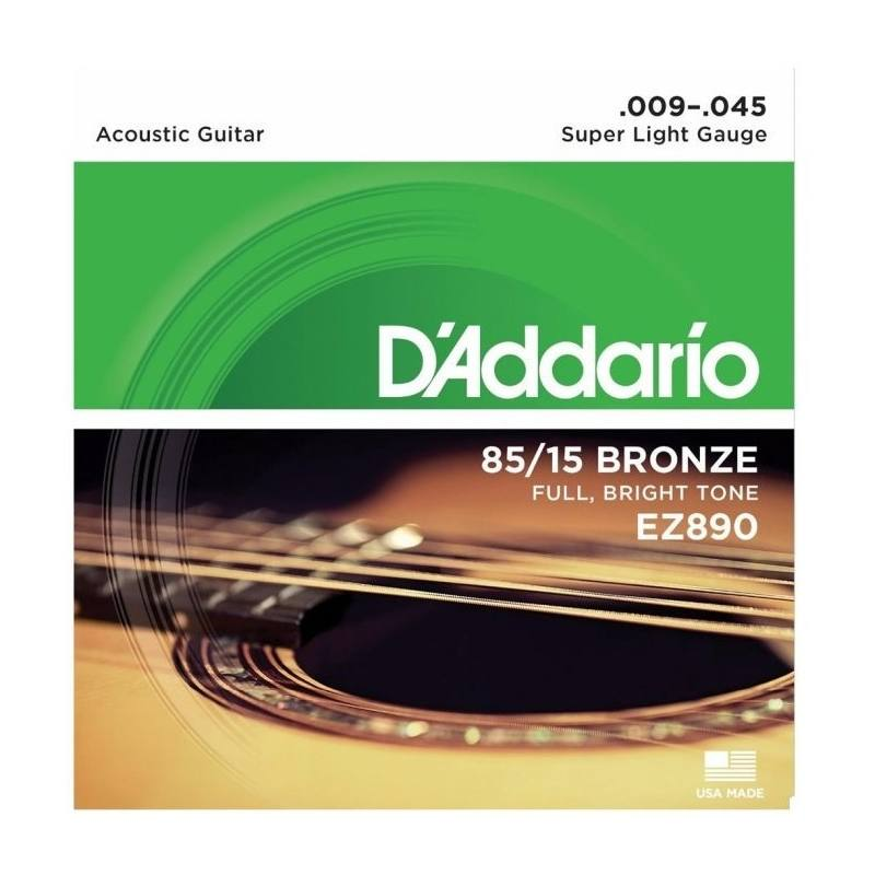 Encordado Para Guitarra Acustica Ez890 Super Light Calibres 009 - 045 De Bronce 85/15 Tension Media Con Sonido Natural