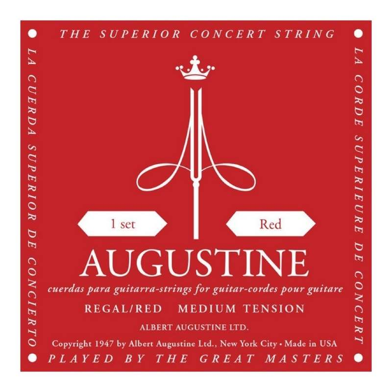 Encordado Para Guitarra Clasica Augustine Classic Red Usa Calibre 028 0425 - Tension Media