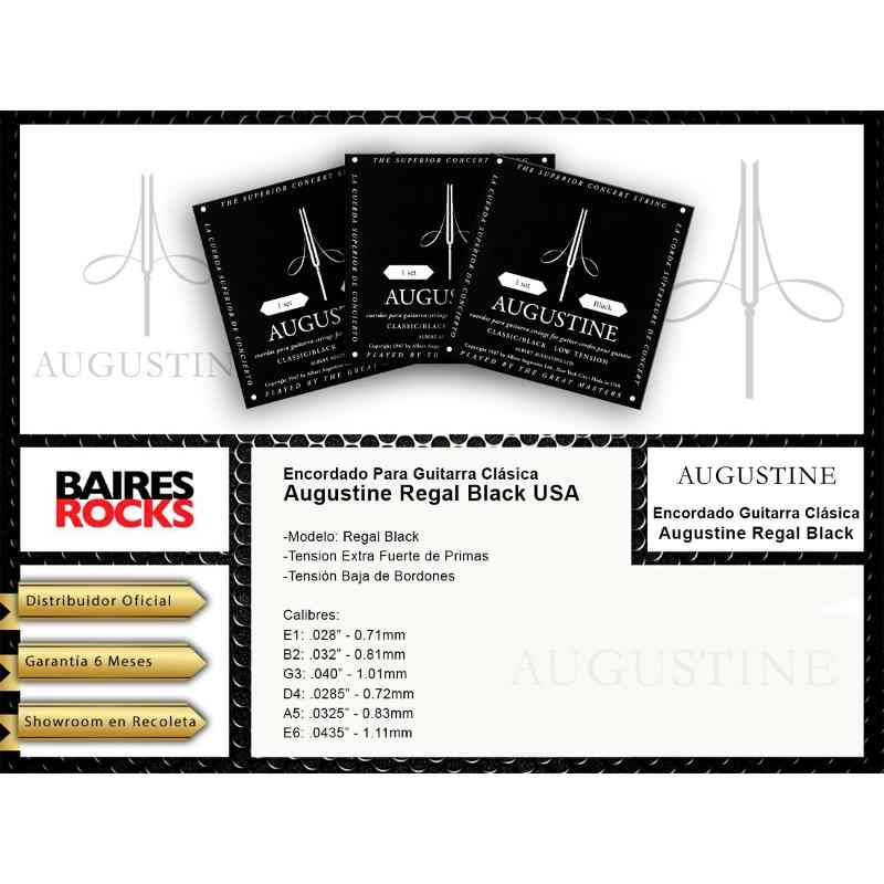 Encordado Para Guitarra Clasica Augustine Regal Black Usa Calibre 028 0435 - Tension Baja