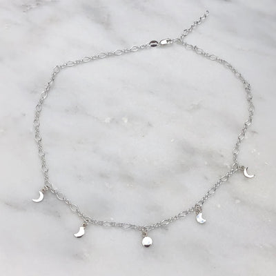 Moon Phase Sterling Necklace