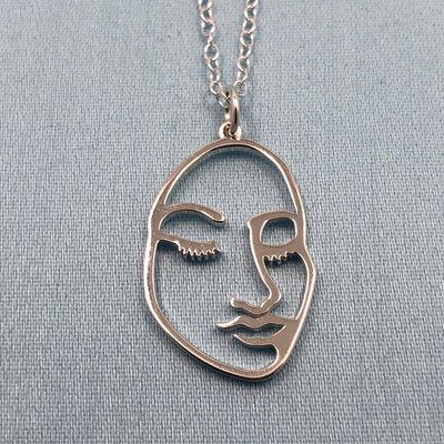 Sterling Artsy Face Necklace