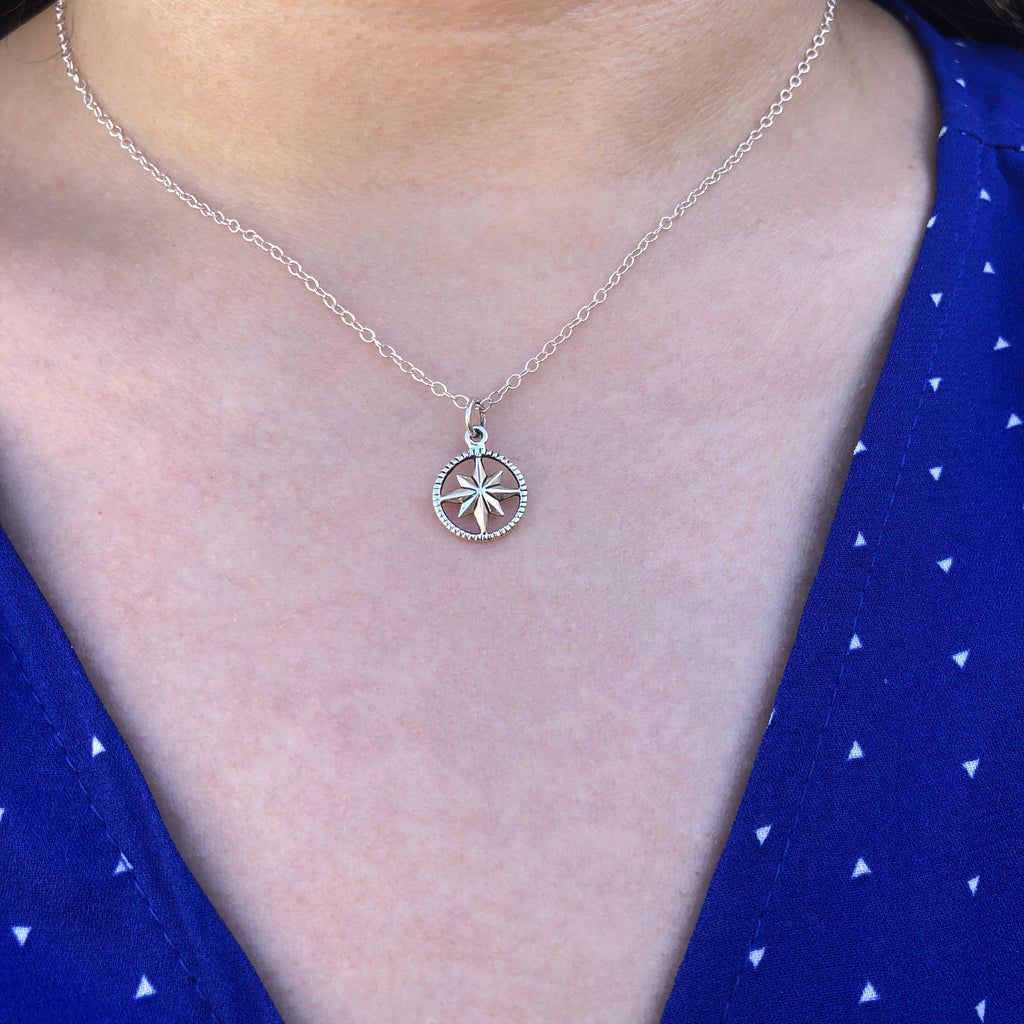 Sterling Compass Necklace