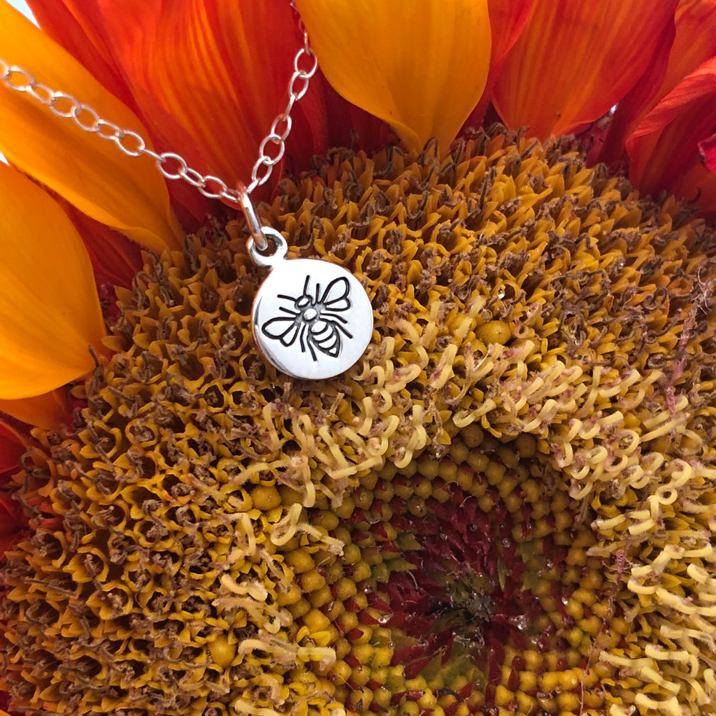 Sterling Mini Stamped Bee Necklace