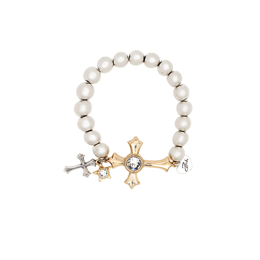 Gold Lana Ball Bracelet with Cross