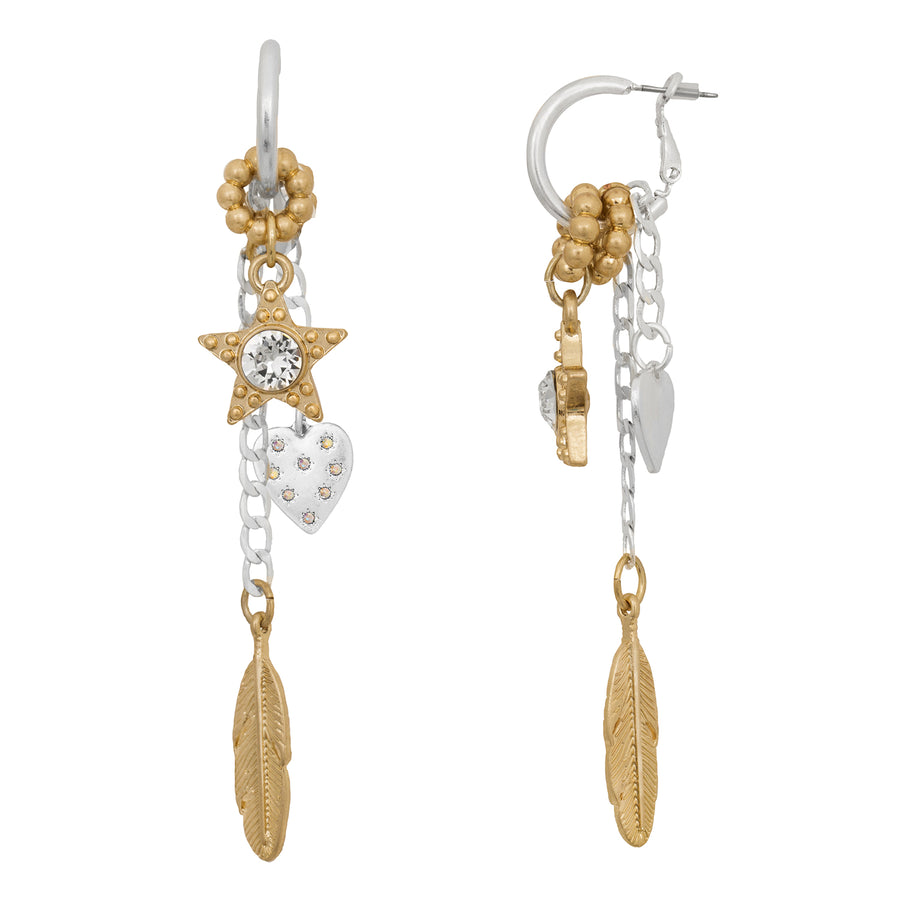 BB Feather Star Heart Charm Earrings in Mixed Metals