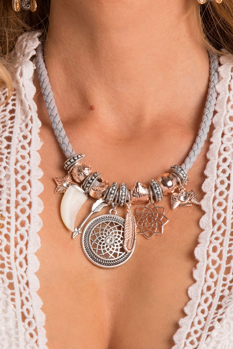 Harley Grey and Rose Dreamcatcher Friendship Necklace