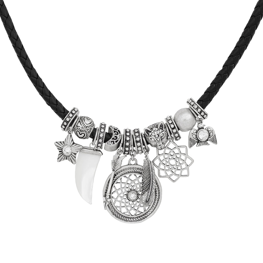 Harley Black and Silver Dreamcatcher Friendship Necklace