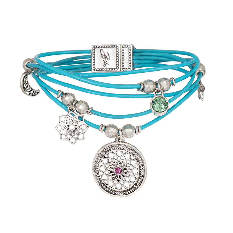 Gia Leather layered Dreamcatcher Bracelet with Magnetic Clasp