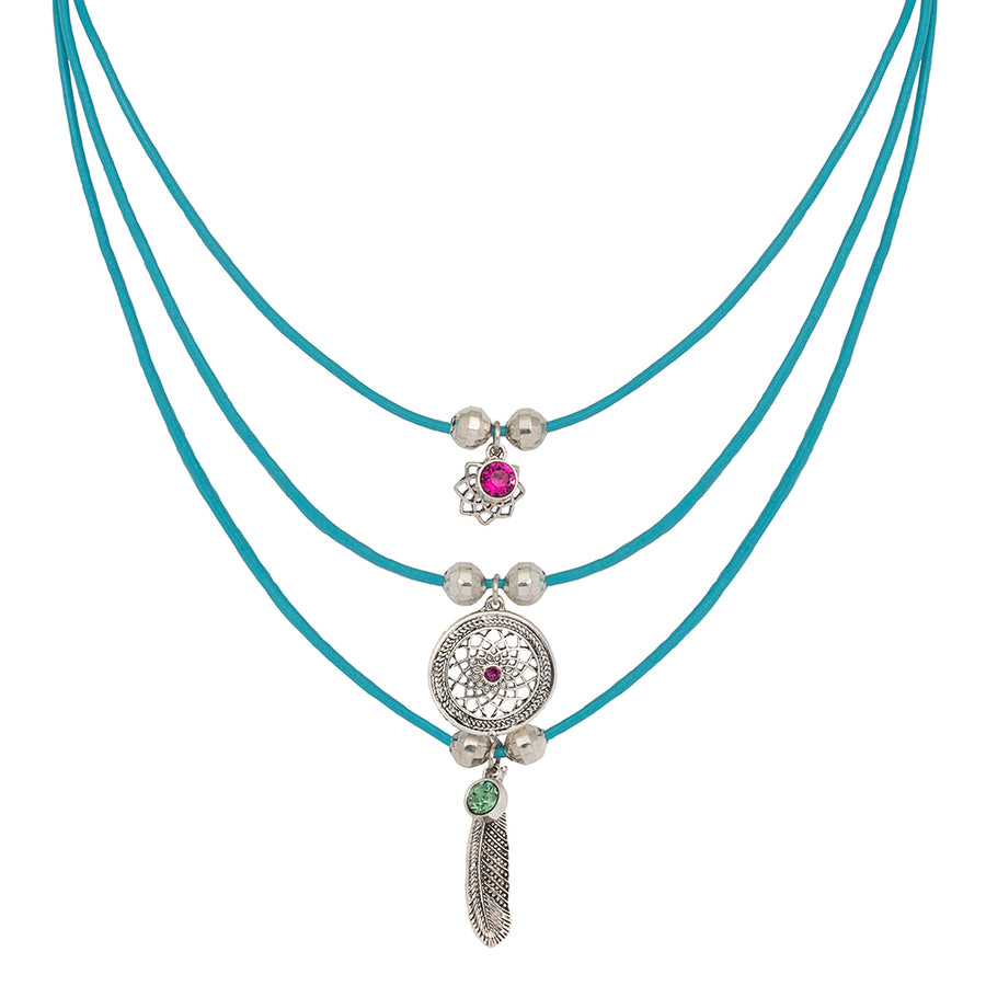 Gia Leather layered Dreamcatcher Necklace in Turquoise and Silver