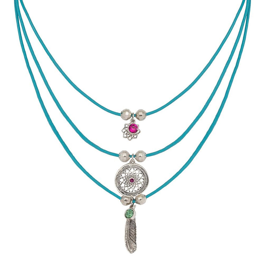 Gia Leather Layered Dreamcatcher Necklace