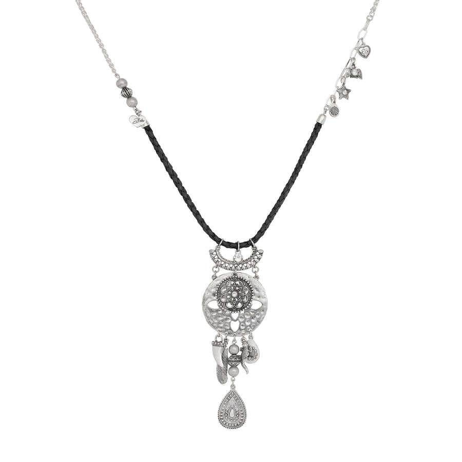 Sahara Black and Silver Morrocan Pendant Necklace