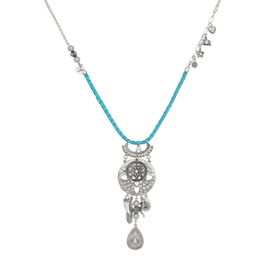 Sahara Turquoise and Silver Morrocan Pendant Necklace