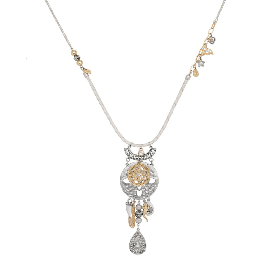 Sahara White with Silver and Gold Morrocan Pendant Necklace