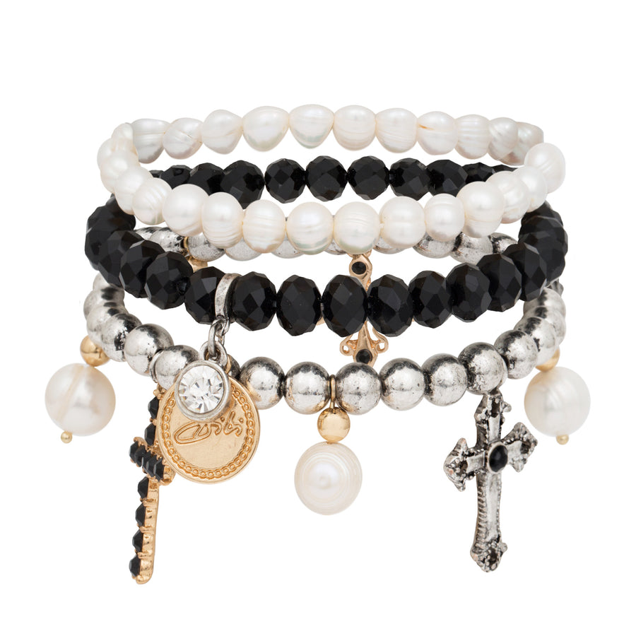Joanna Stack of Cross, Pearl and Black Crystal Bracelets