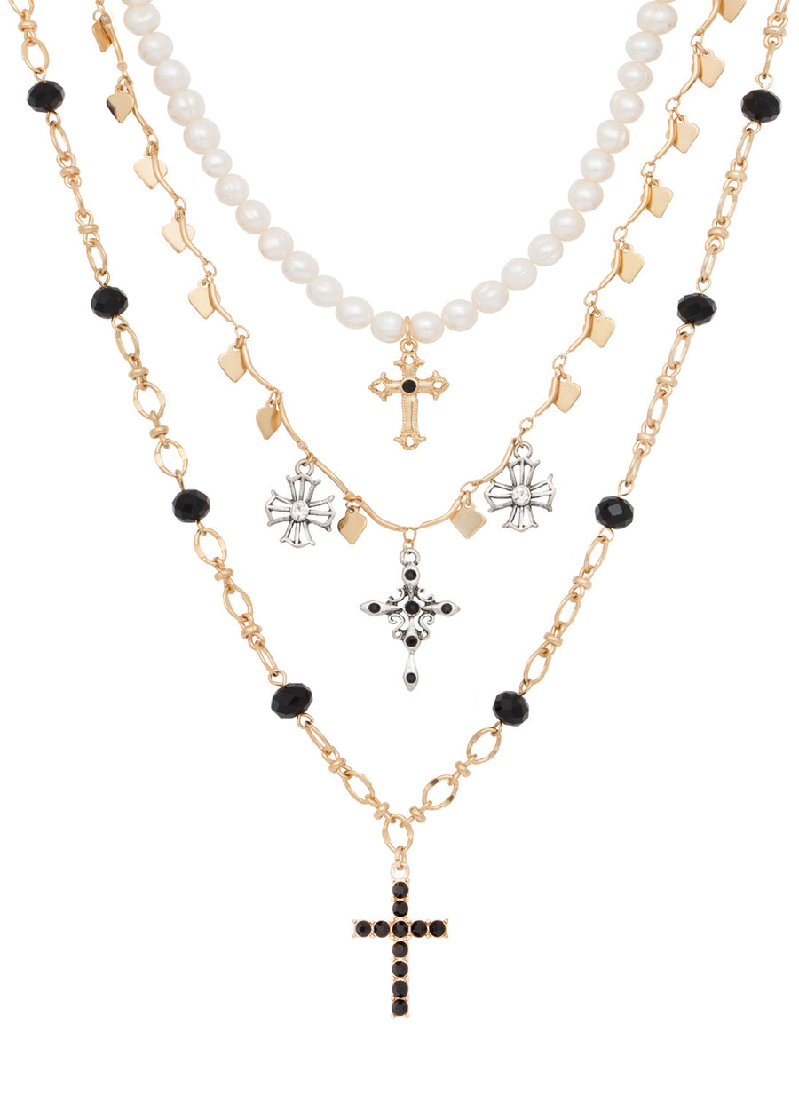 Francesca 3 Row Layered Cross Necklaces