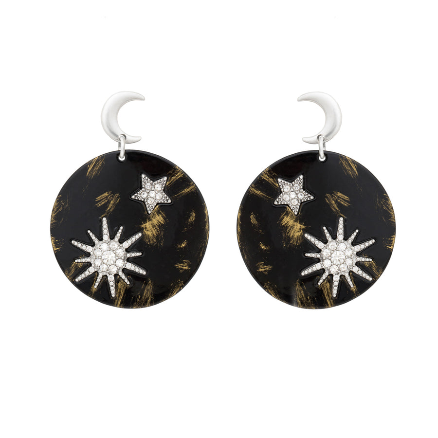 Gaia Goddess Enamel Disc Statement Earrings