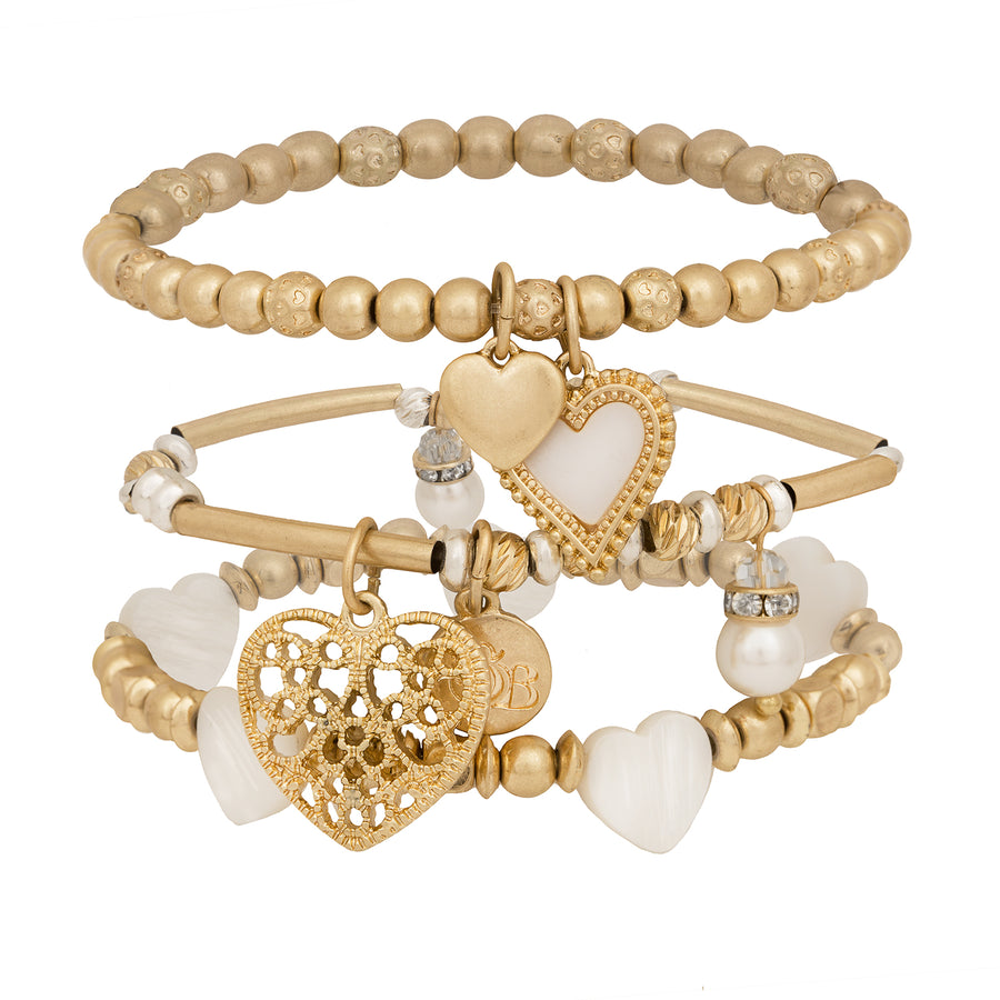 BB Heart Charm Stacked Bracelets with Freshwater Pearls
