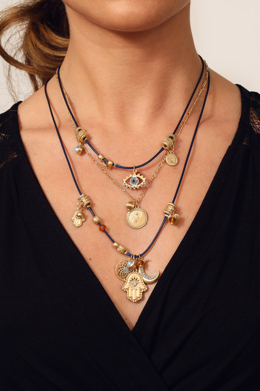 BB Triple Row Navy & Gold Spiritual Charm Necklace