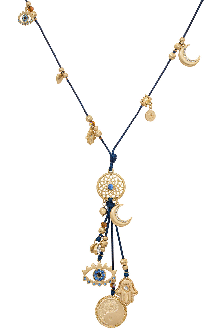 BB Navy Cord Spiritual Charm Necklace with Sapphire and Topaz