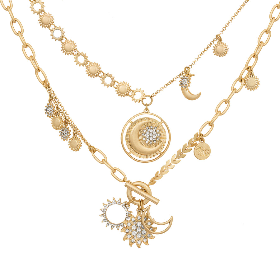 BB Gold Sun and Moon Double Row Necklace