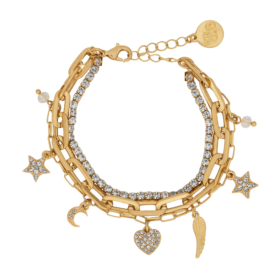 BB Gold Star and Hearts Triple Row Bracelet