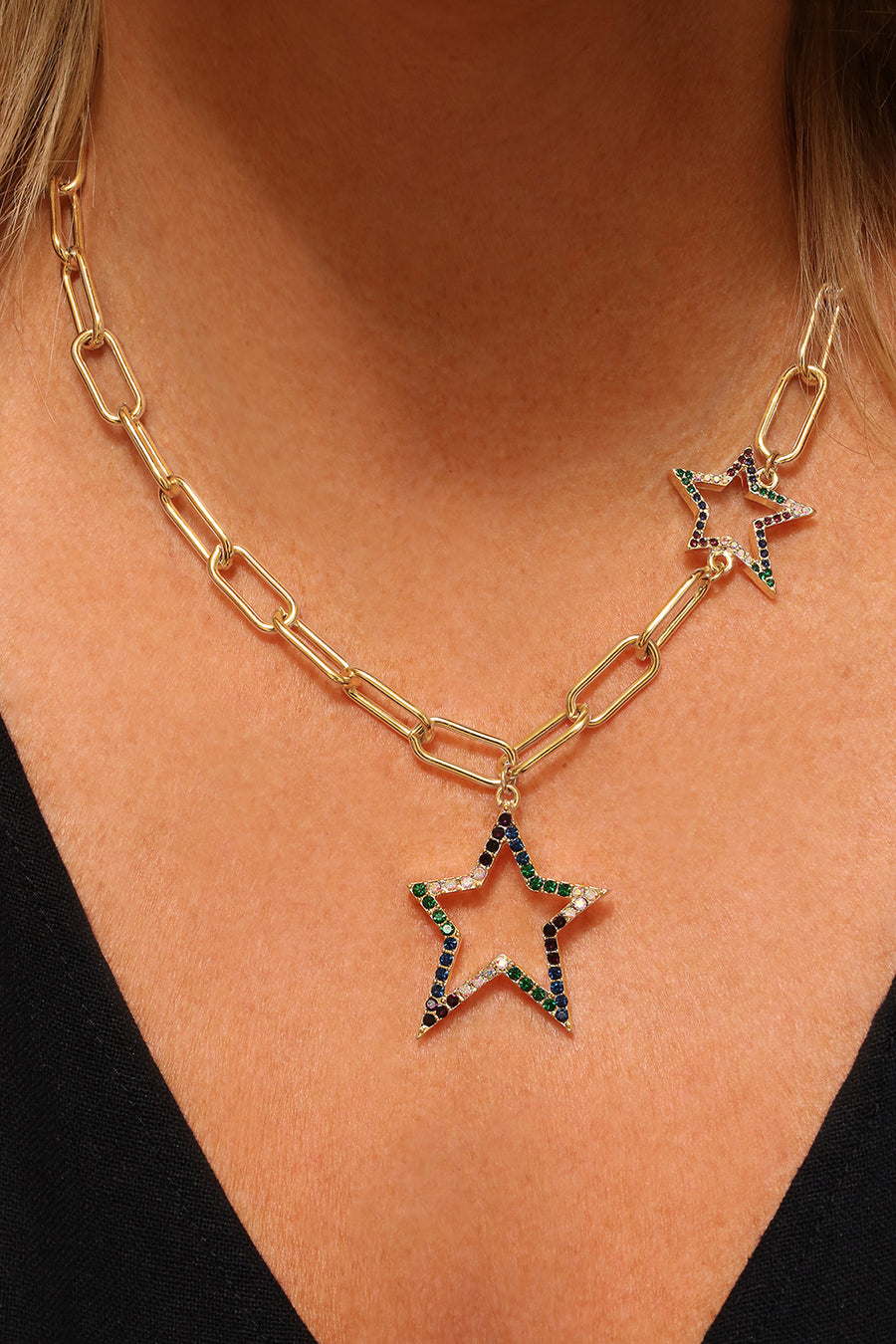 Kate Thornton 'Bright Nights' Gold Crystal Double Star Necklace