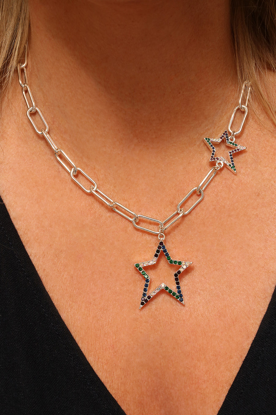 Kate Thornton 'Bright Nights' Silver Crystal Double Star Necklace