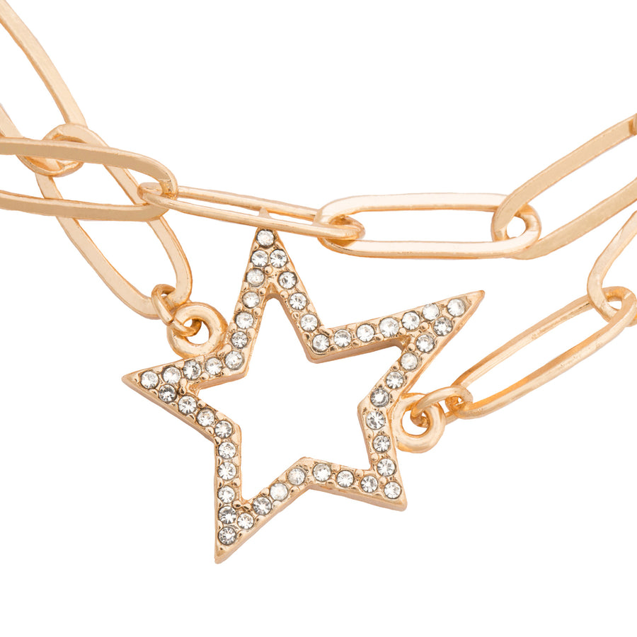 Kate Thornton 'Starry Night' Gold Crystal Double Star Bracelet