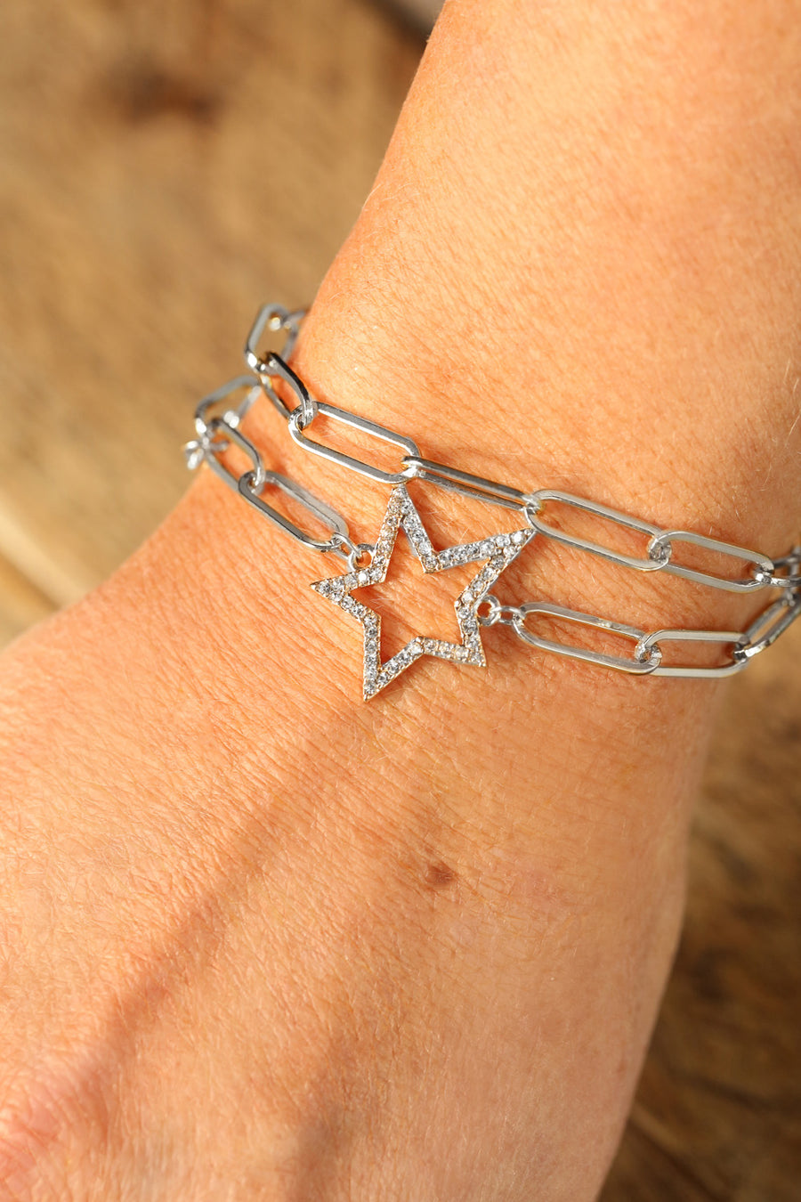 Kate Thornton 'Starry Night' Crystal Double Star Bracelet in silver