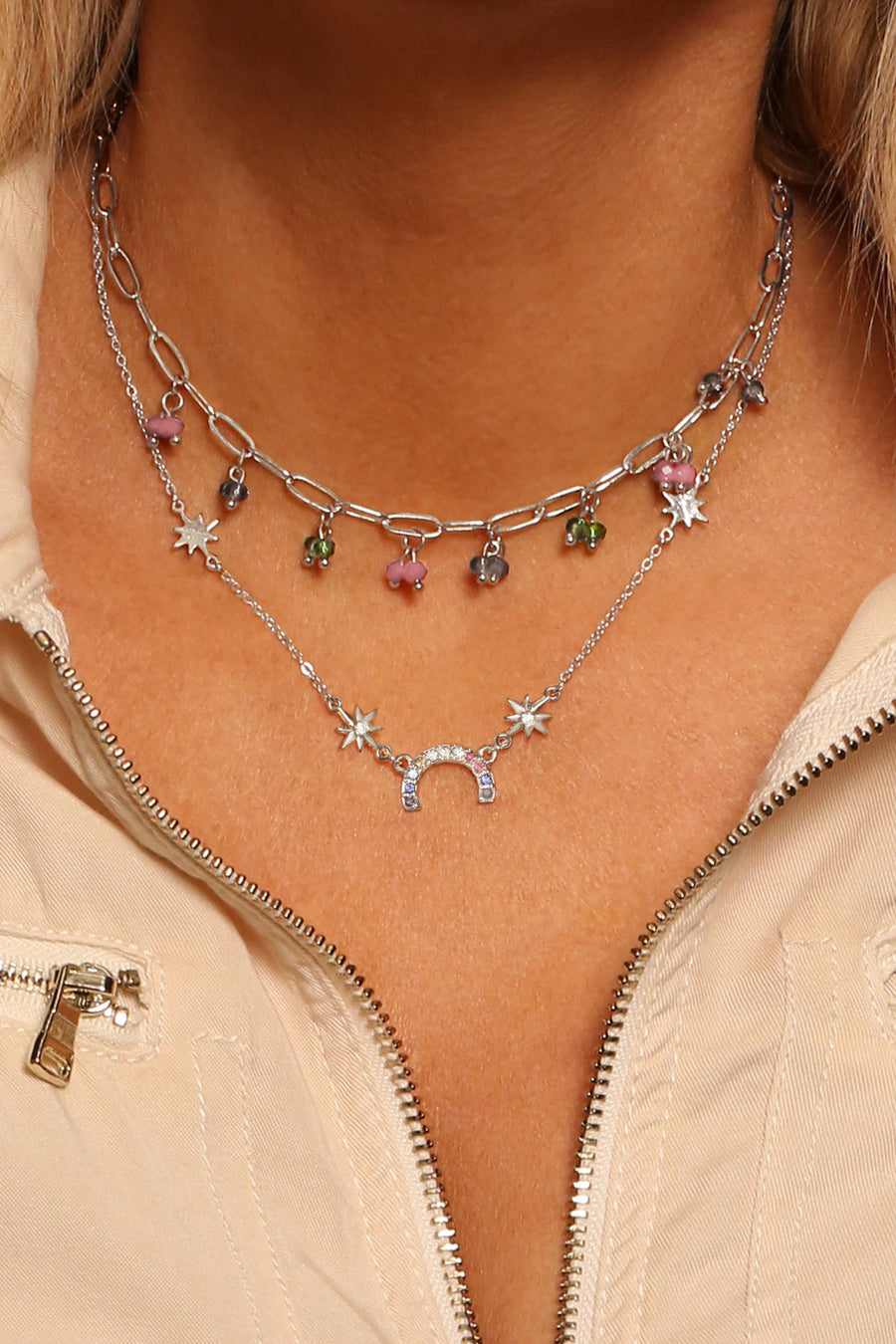 Kate Thornton 'Hope' Beaded Rainbow Crystal layered necklace set in silver
