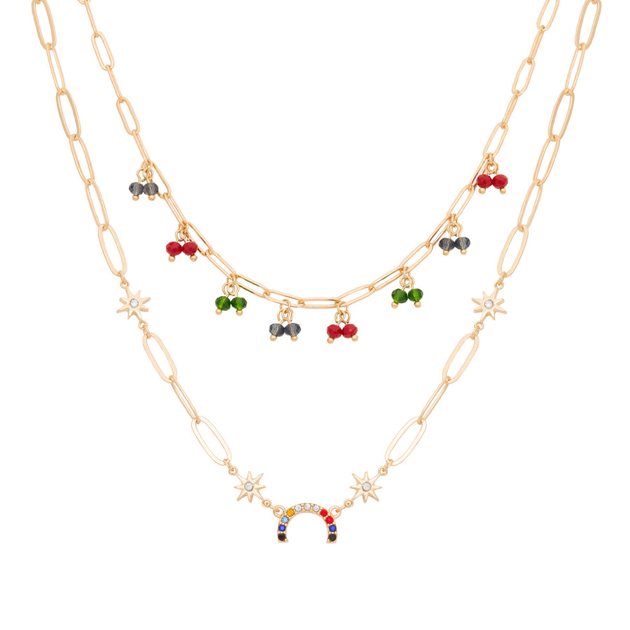 Kate Thornton 'Hope' Beaded Rainbow Crystal layered necklace set in gold