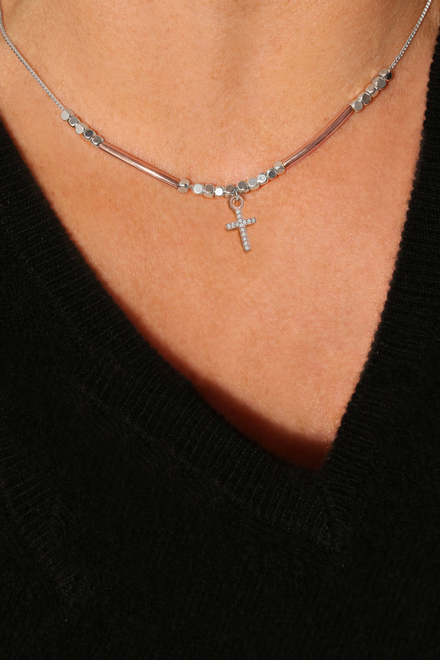 Eternity Delicate Single Rose Cross Necklace