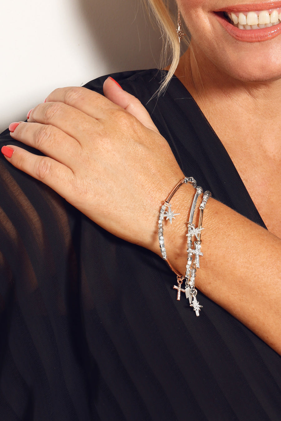 KTxBibi Karma Stretch Stackable Charm Bracelet in Rose