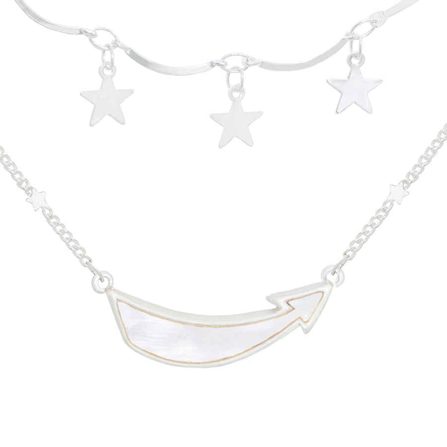 Kate Thornton 'Shoot For The Stars' Silver Layered Necklace Set